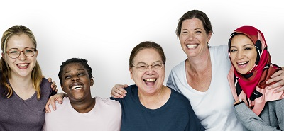 Group of diverse women laughing together