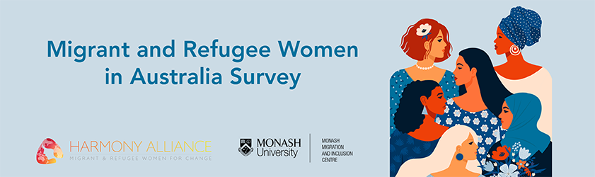 Illustration of group of diverse women. Migrant and Refugee Women in Australia