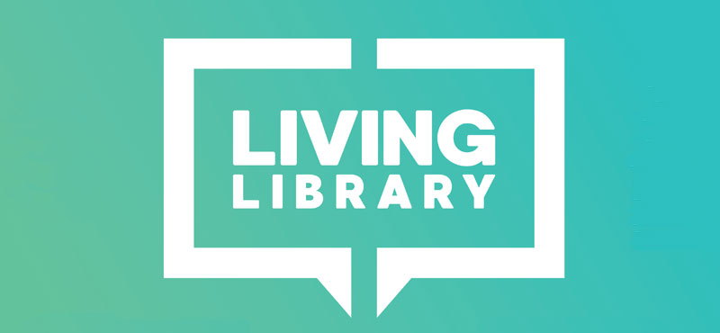 Living Library on a green background
