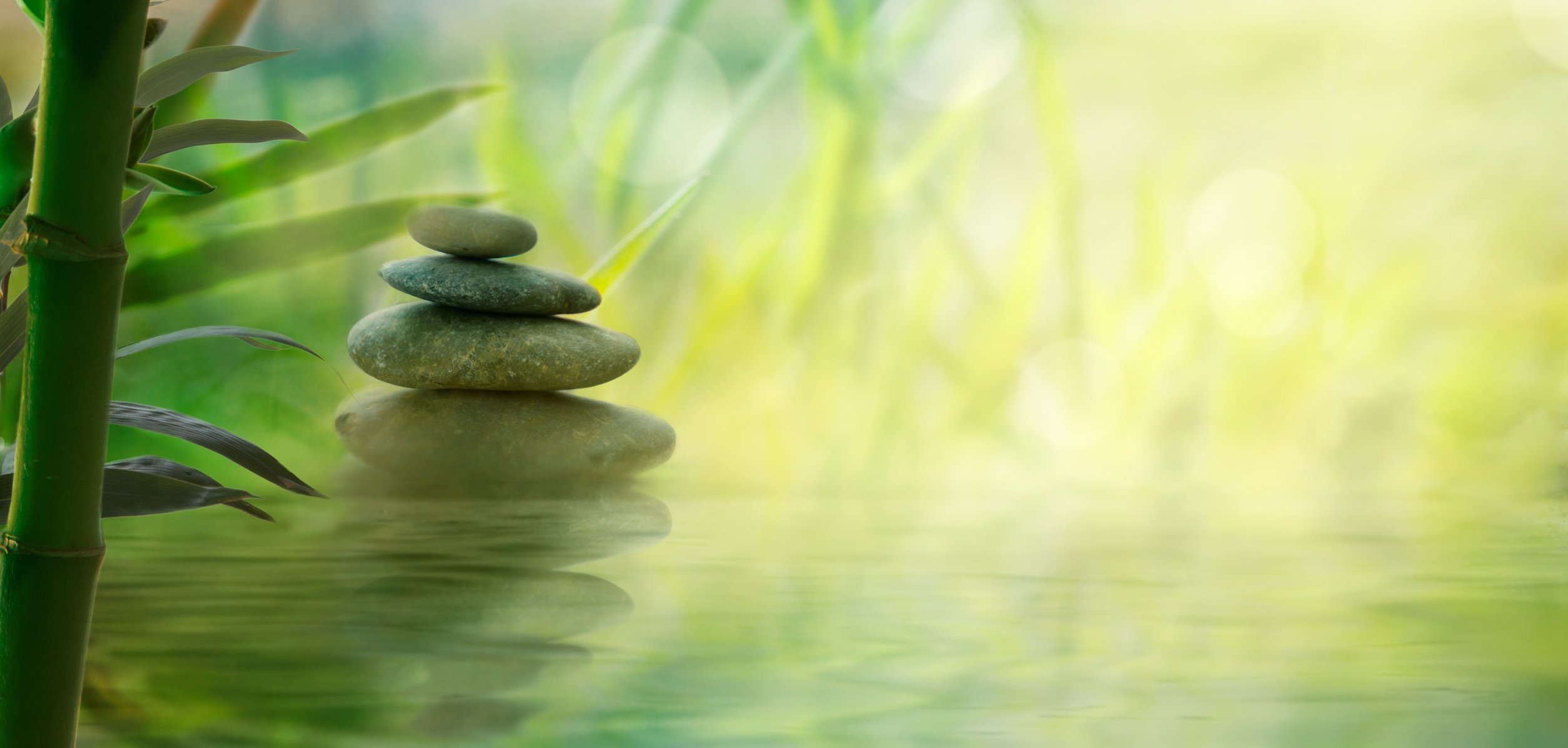 Peaceful scene of stones and water