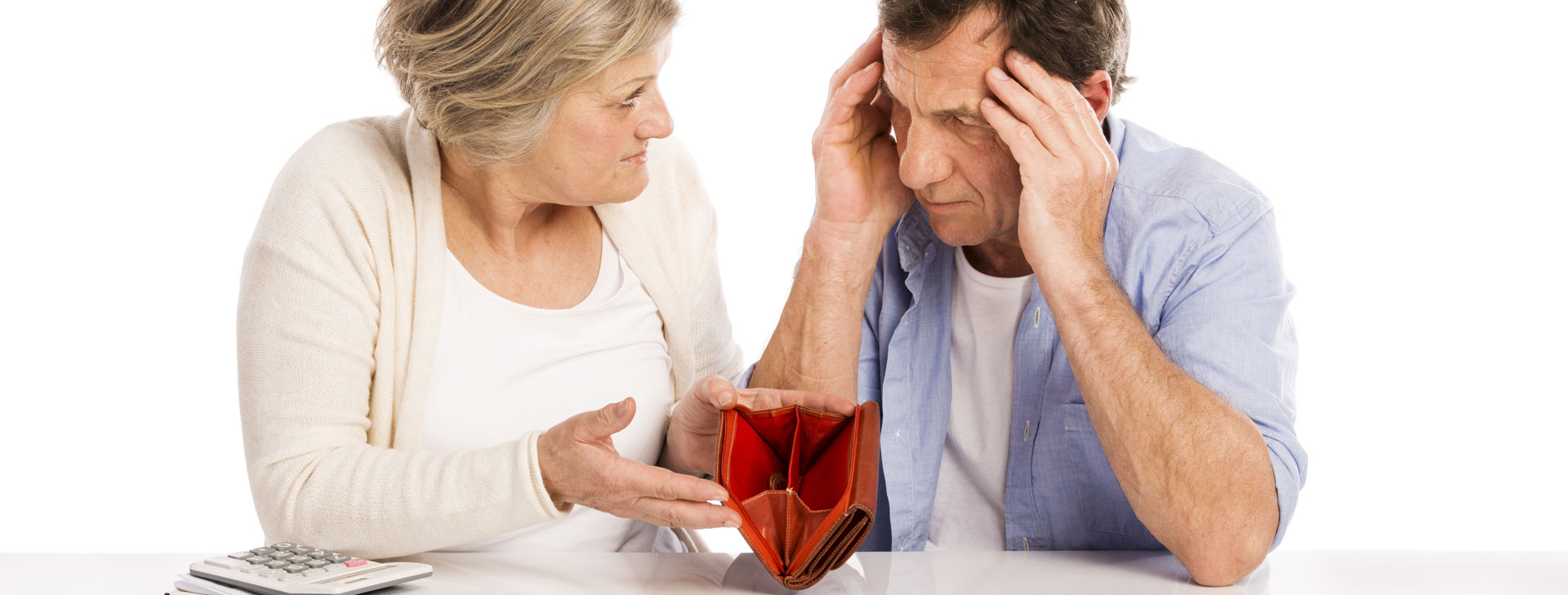 Man and woman fighting over empty wallet